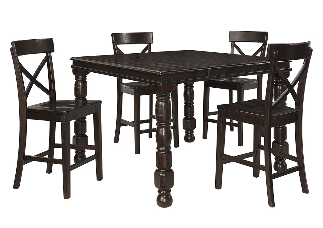 Gerlane Dark Brown Rectangular Extension Dining Room Counter Table w/4 Barstools,Signature Design by Ashley
