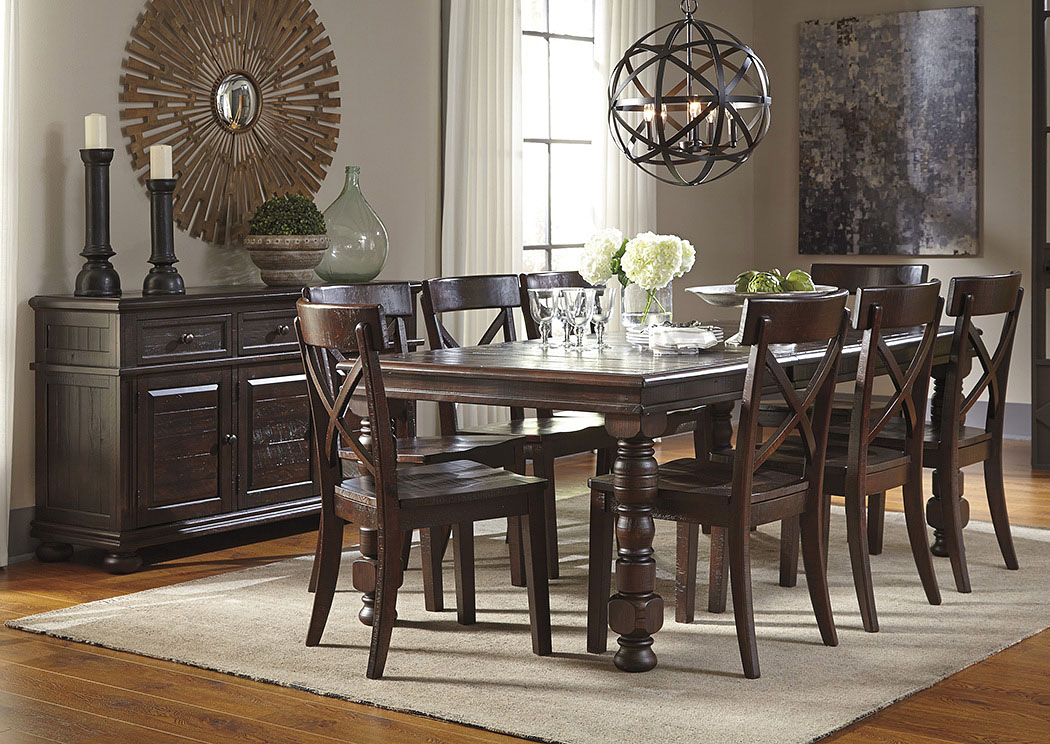 Gerlane Dark Brown Rectangular Dining Room Extension Table W/Server And 8  Side Chairs,