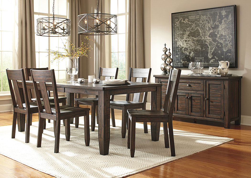 trudell golden brown rectangular dining room extension table w 6 side