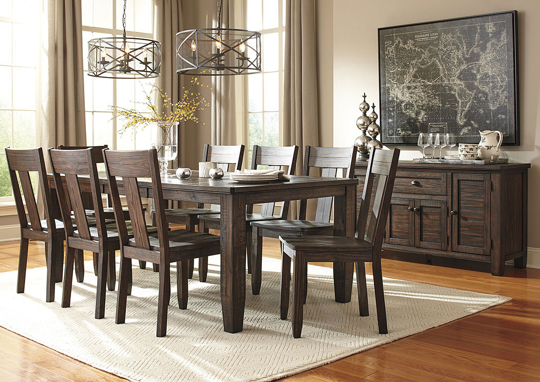 rectangular dining room extension table w server and 8 side chairs