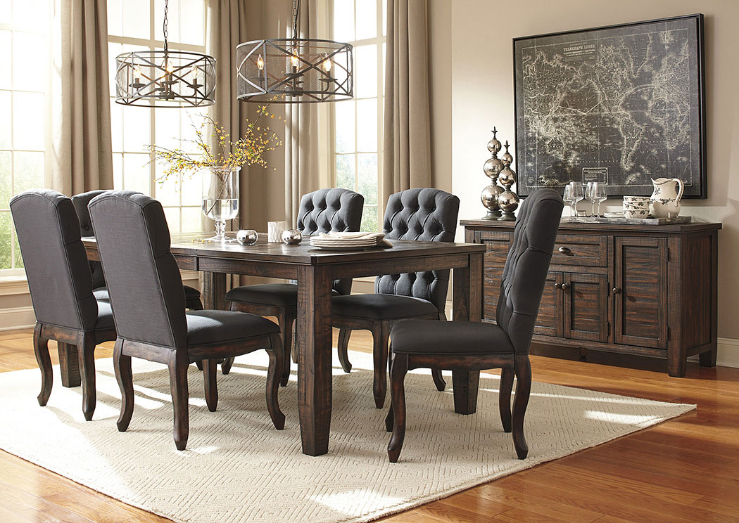 Trudell Golden Brown Rectangular Dining Room Extension Table w/6 Upholstered Side Chairs & Server,Signature Design By Ashley