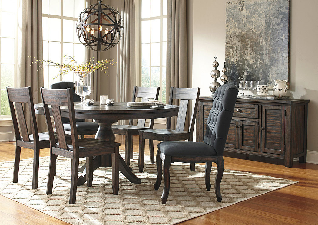 Trudell Golden Brown Round Dining Room Extension Pedestal Table w/2 Upholstered Side Chairs, 4 Side Chairs & Server,Signature Design By Ashley
