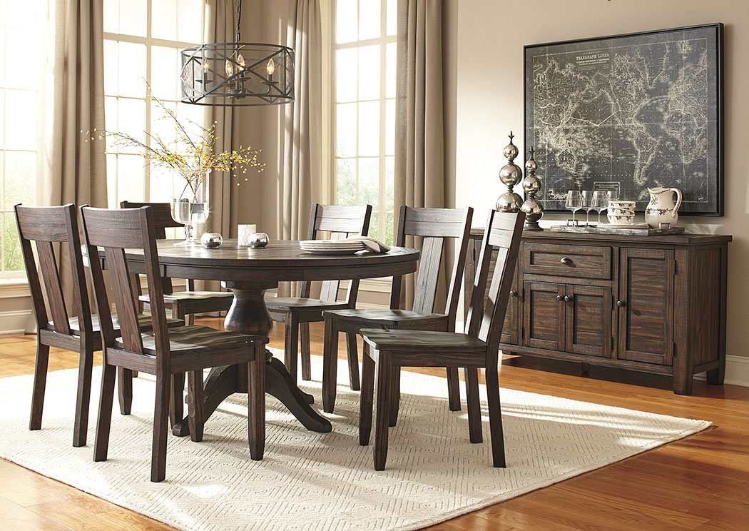 Trudell Golden Brown Round Dining Room Extension Pedestal Table w/6 Side Chairs & Server,Signature Design By Ashley