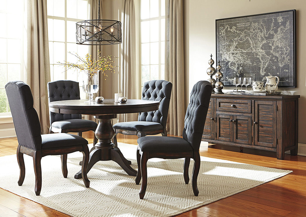 Trudell Golden Brown Round Dining Room Extension Pedestal Table w/4 Upholstered Side Chairs & Server,Signature Design By Ashley