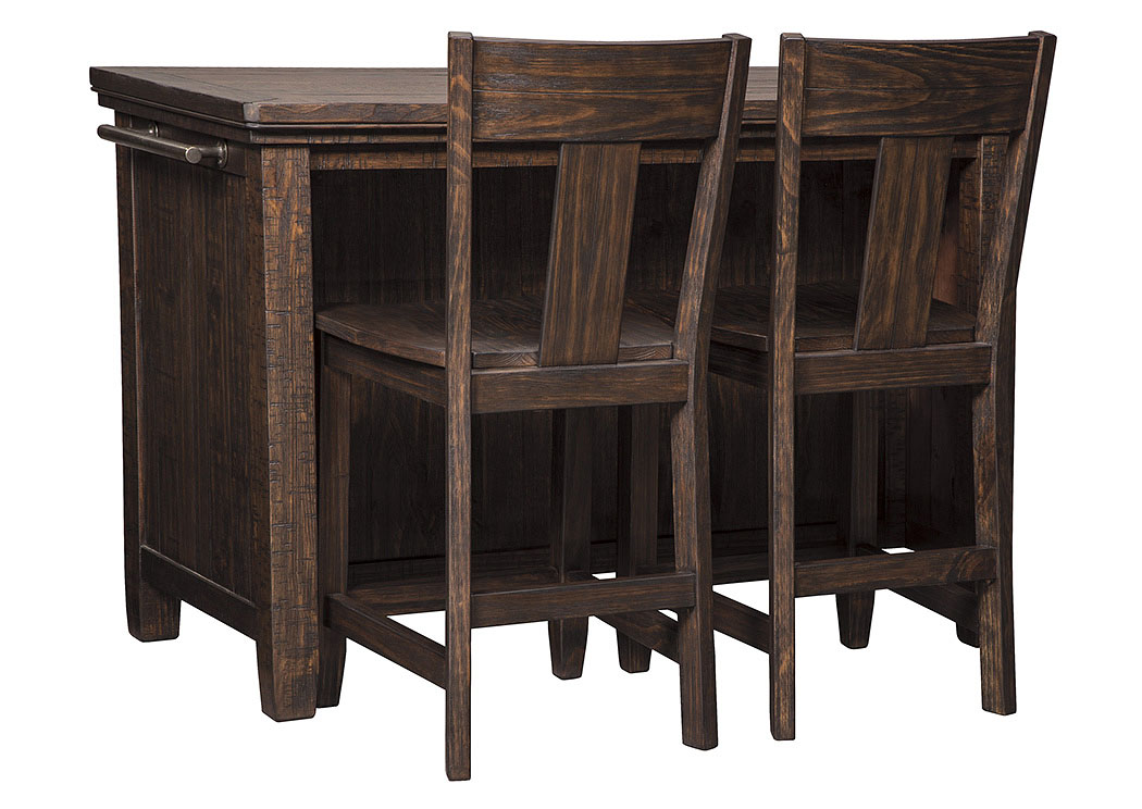 Trudell Dark Brown Rectangular Counter Table w/Storage and 2 Barstool,Signature Design By Ashley
