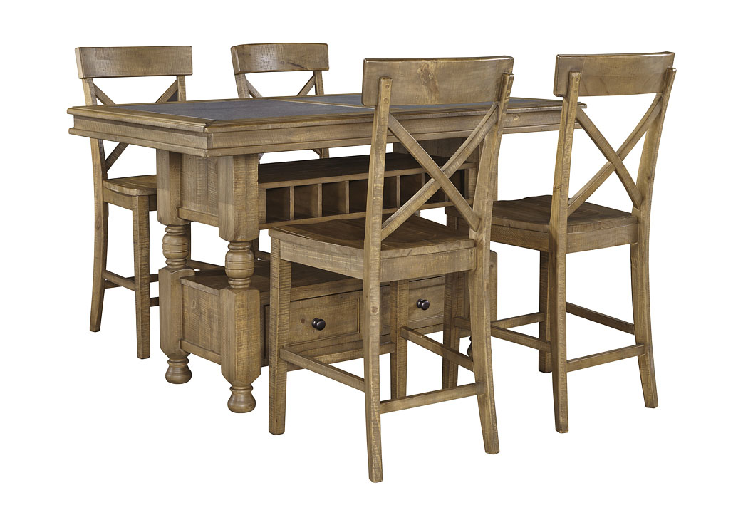 Trishley Light Brown Rectangular Counter Table w/Storage and 4 Barstools,Signature Design by Ashley