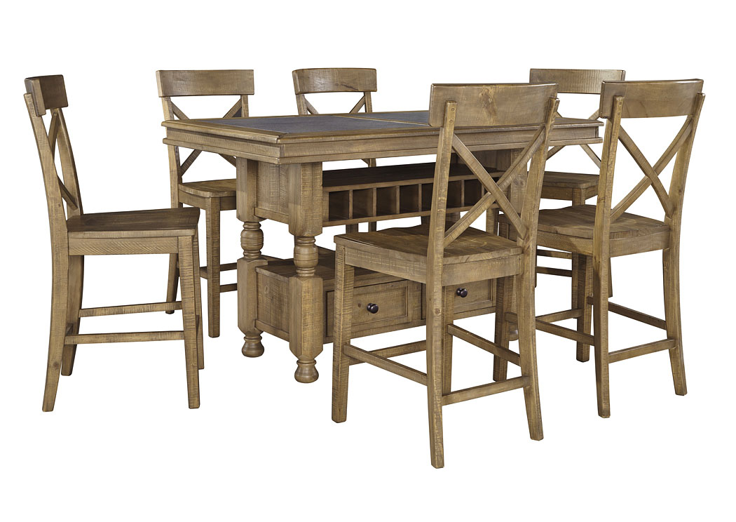 Trishley Light Brown Rectangular Counter Table w/Storage and 6 Barstools,Signature Design by Ashley