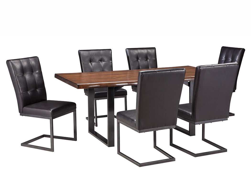 Esmarina Walnut Brown Rectangular Dining Room Table w/6 Upholstered Side Chairs,Signature Design By Ashley