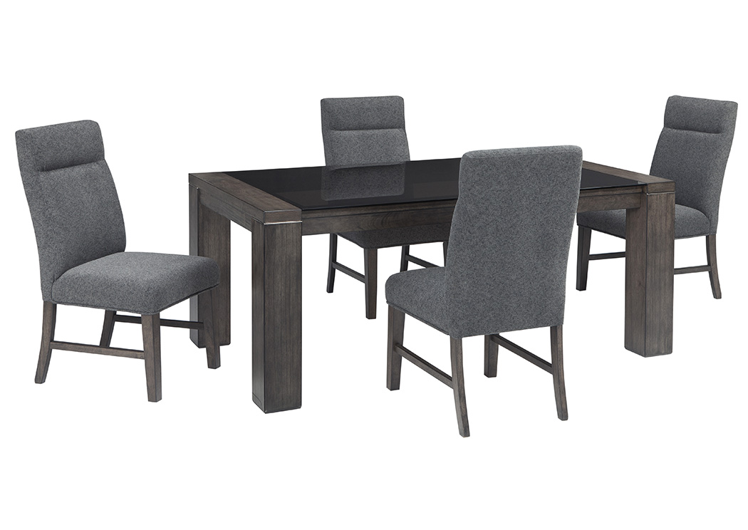 Chansey Dark Gray Rectangular Glass Top Dining Room Table W 4 Upholstered Side Chairs