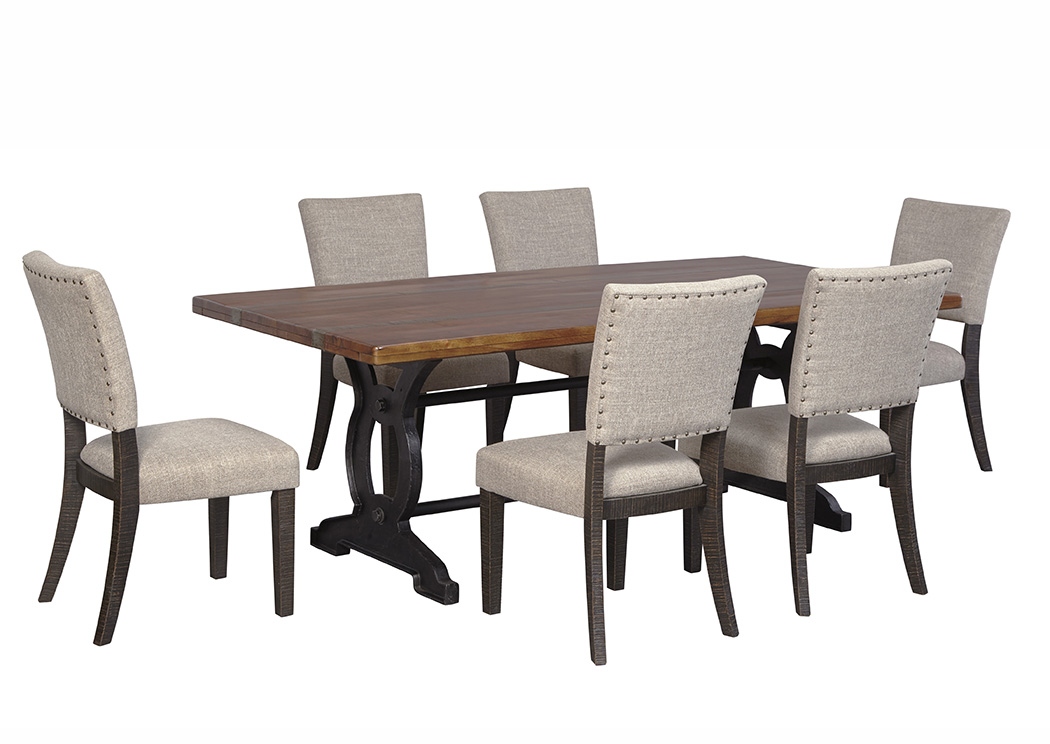 American furniture galleries zurani brown black rectangular dining room table w 6 upholstered - Side table dining room ...
