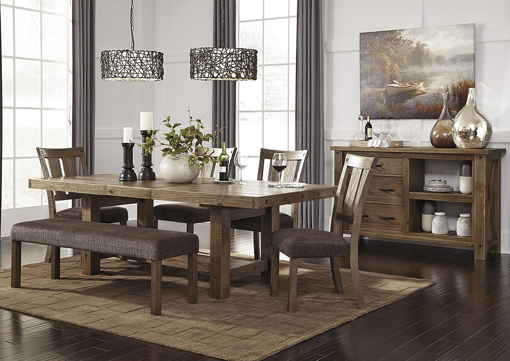 By The Room Furniture Tamilo Gray/Brown Rectangular Dining Room Extension  Table W/4 Side Chairs, Bench And Server
