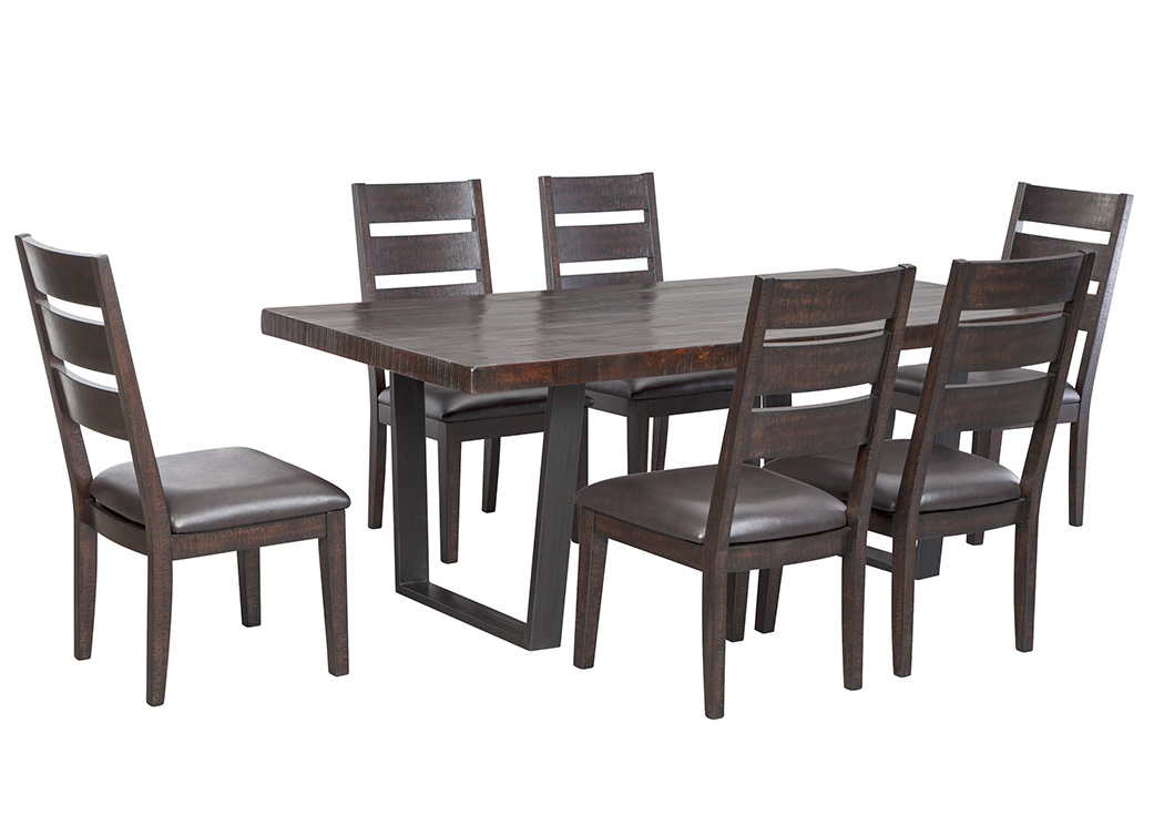 Parlone Dark Brown Rectangular Dining Room Table W 6 Upholstered Side Chairs