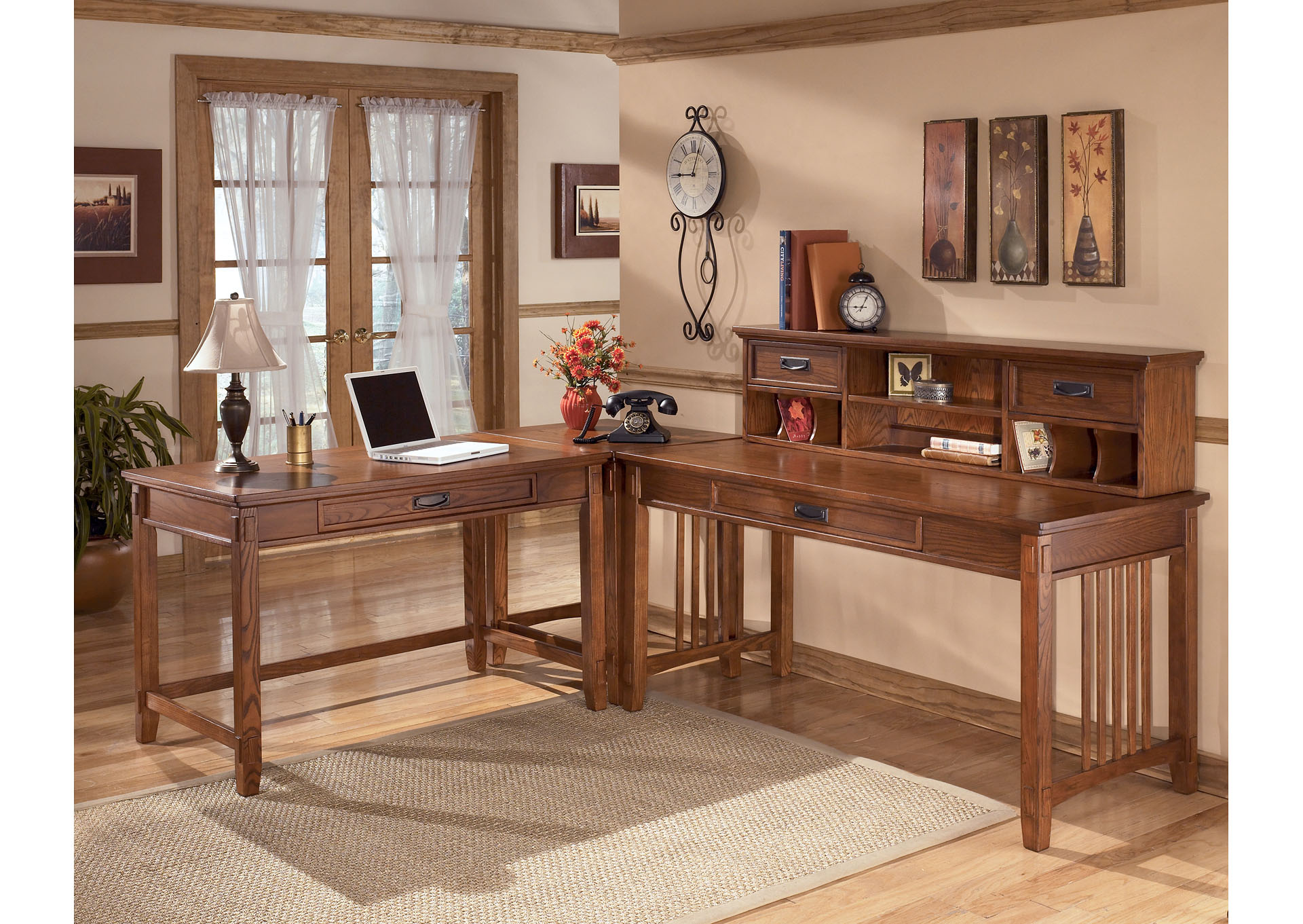 Cross Island L-Shape Desk w/ Low Hutch ,ABF Signature Design by Ashley