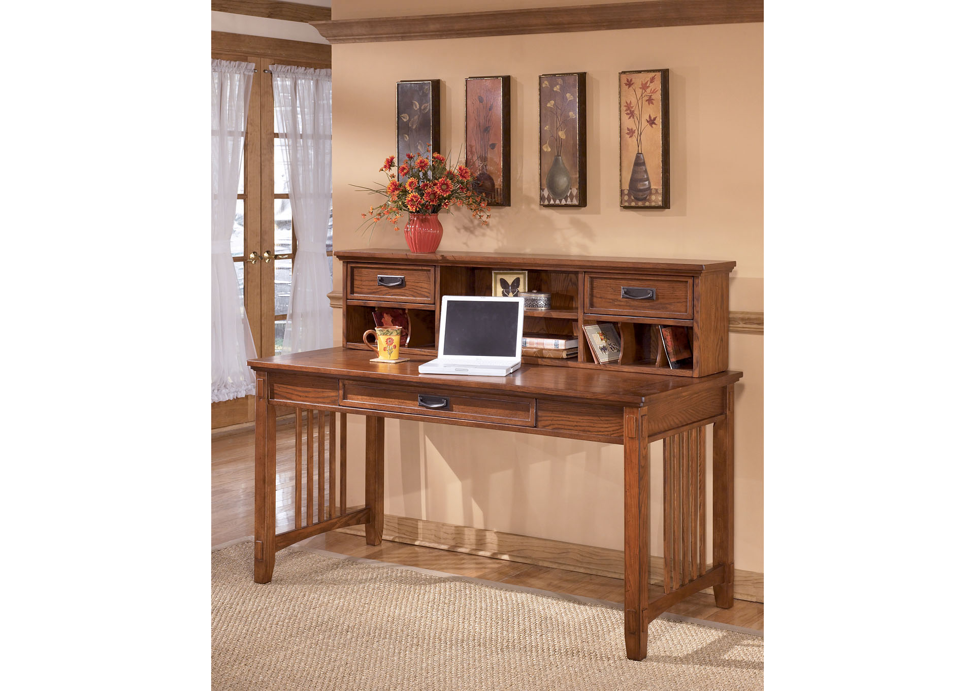 Cross Island Large Leg Desk & Low Hutch,ABF Signature Design by Ashley