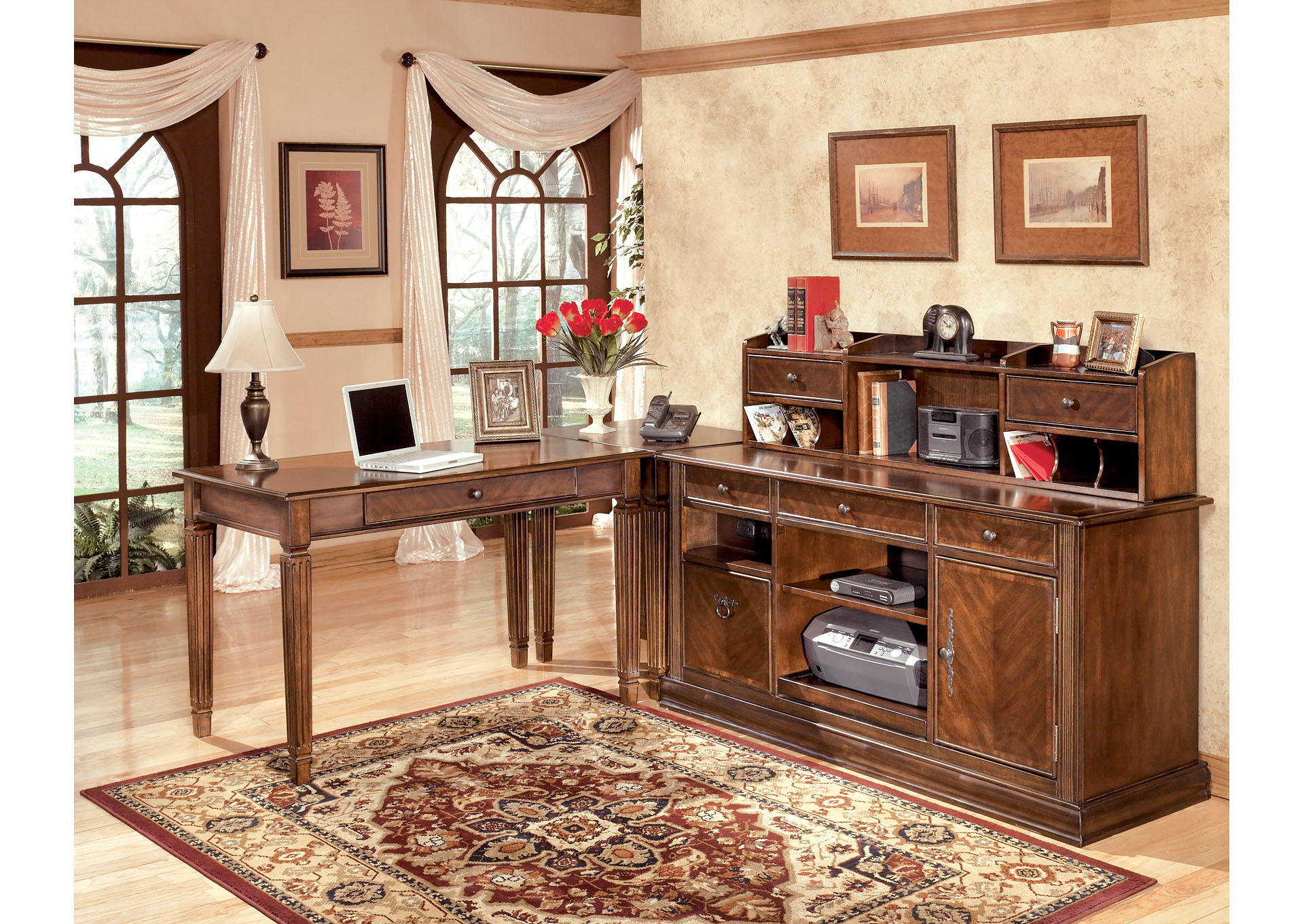 Hamlyn L-Shaped Desk w/ Hutch & Credenza,ABF Signature Design by Ashley