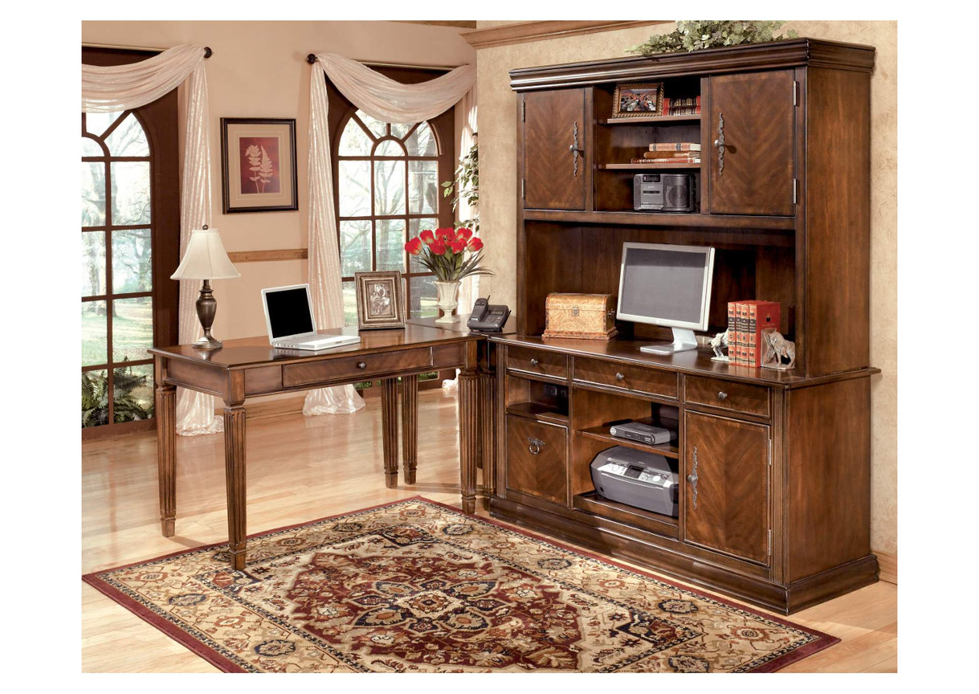 Hamlyn L-Shaped Desk w/ Large Hutch & Credenza,Signature Design by Ashley
