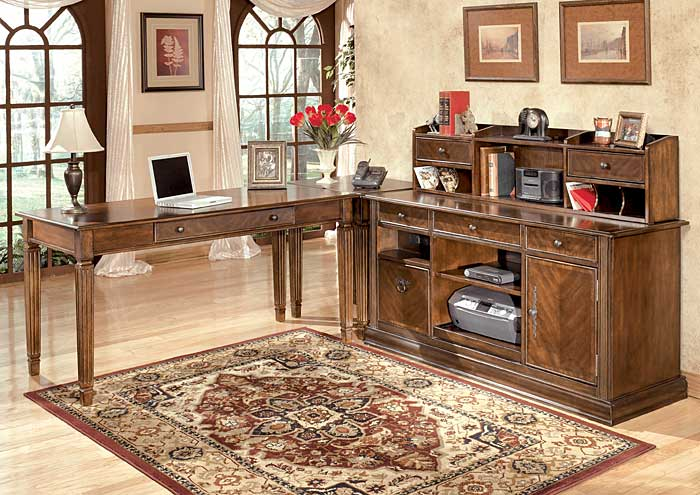 Hamlyn Large L-Shaped Desk w/Hutch & Credenza,Signature Design By Ashley