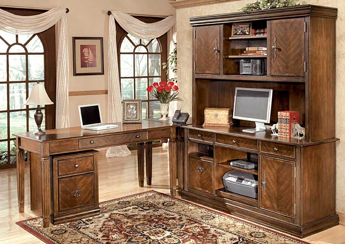 Hamlyn Large L-Shaped Desk w/ Large Hutch & Credenza & File Cabinet,Signature Design by Ashley