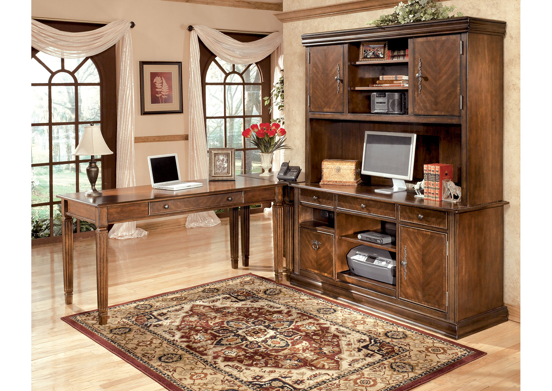 Hamlyn Large L-Shaped Desk w/ Large Hutch & Credenza,ABF Signature Design by Ashley