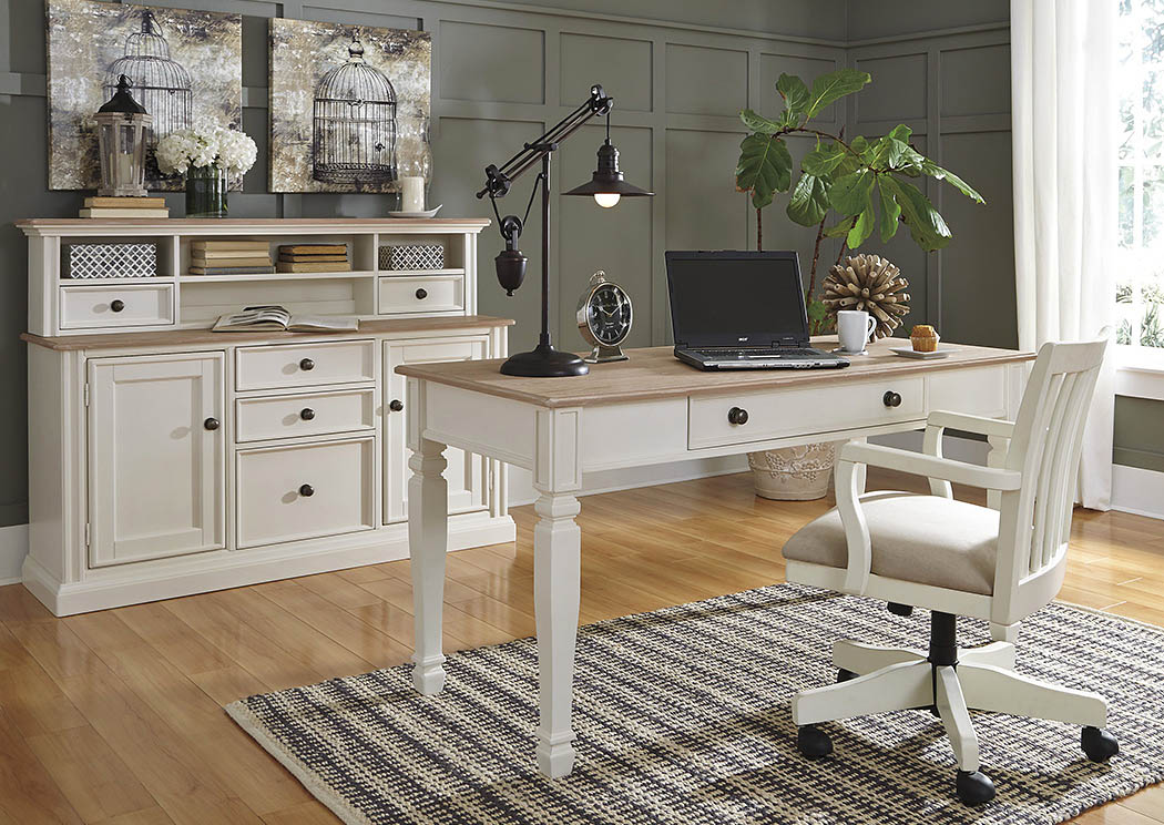 Sarvanny Two-tone Home Office Large Leg Desk w/ Chair,ABF Signature Design by Ashley