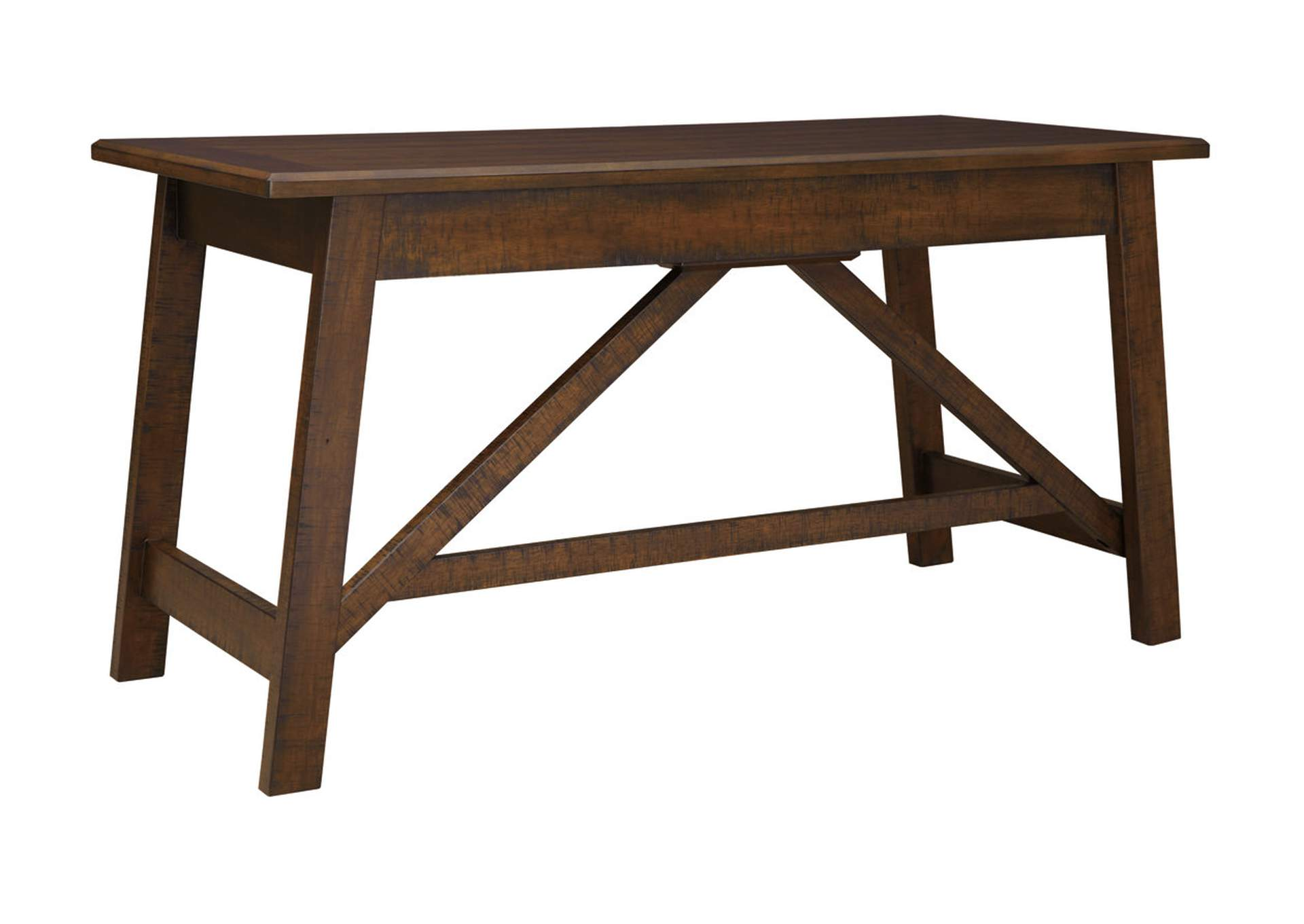Baldridge Rustic Brown Home Office Large Leg Desk,48 Hour Quick Ship