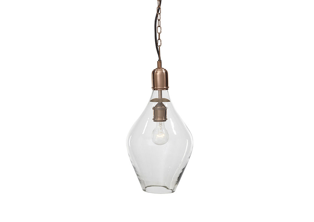 Gaenor Clear/Copper Finish Glass Pendant Light,Signature Design by Ashley