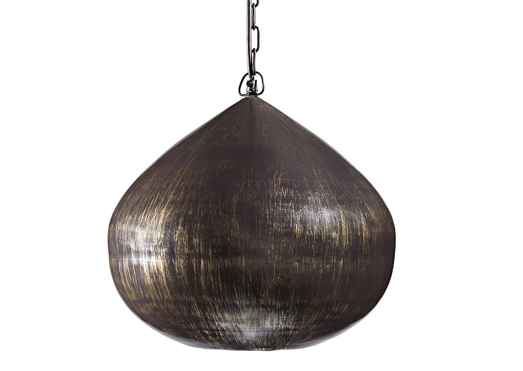 Aminali Antique Brass Finish Metal Pendant Light,Signature Design By Ashley