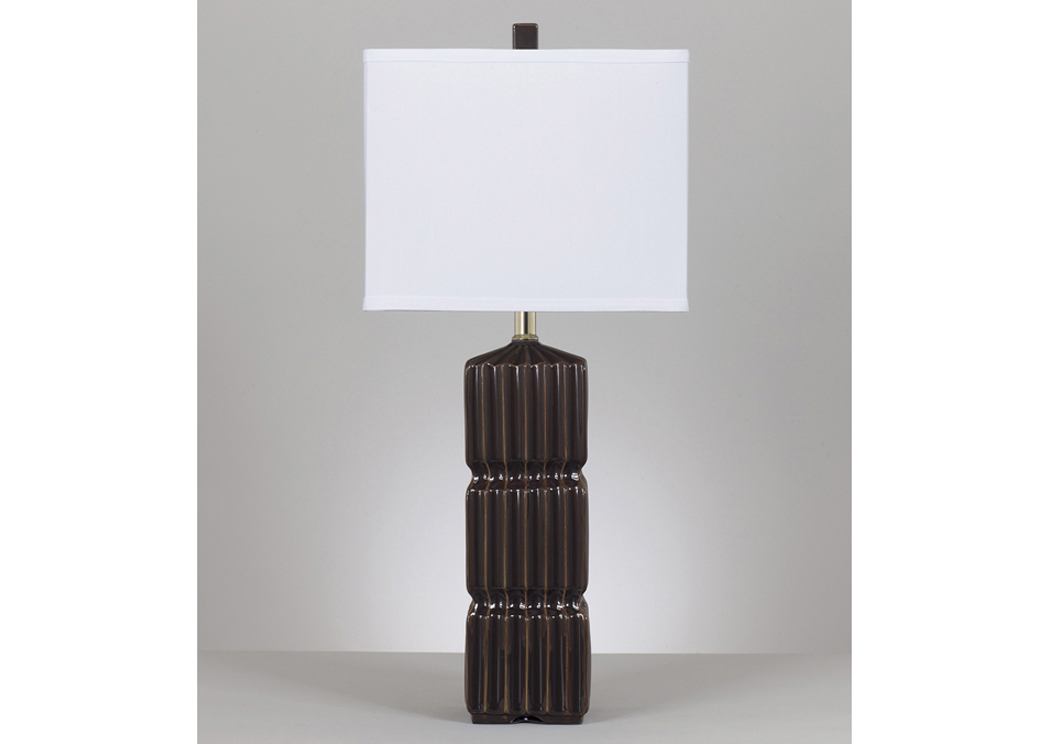 Ranissa Dark Brown Ceramic Table Lamp (Set of 2),Signature Design by Ashley