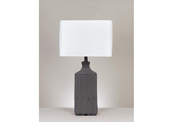 Patience Gray Ceramic Table Lamp (Set of 2),Signature Design By Ashley
