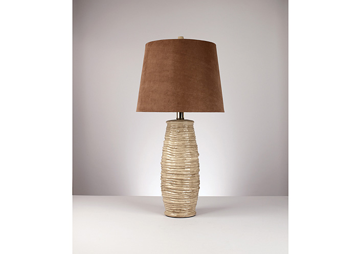 Haldis Brown & Cream Ceramic Table Lamp (Set of 2),Signature Design By Ashley