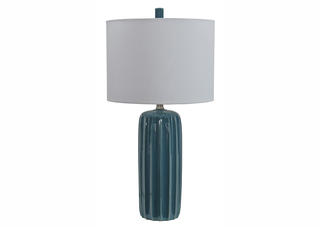 Adorlee Teal Ceramic Table Lamp (Set of 2),Signature Design By Ashley