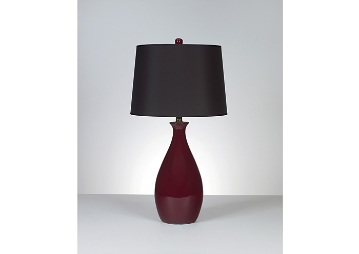 Jemma Deep Red Ceramic Table Lamp (Set of 2),Signature Design By Ashley