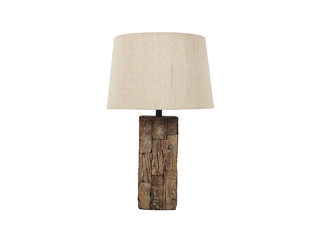 Selemah Light Brown Wood Table Lamp,Signature Design by Ashley
