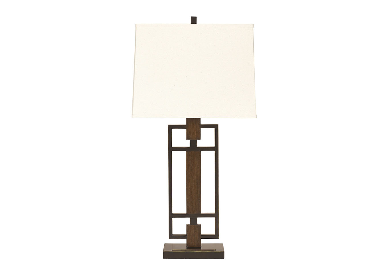 Bronze & Wood Finish Omaris Metal Table Lamp (Set of 2),Signature Design by Ashley