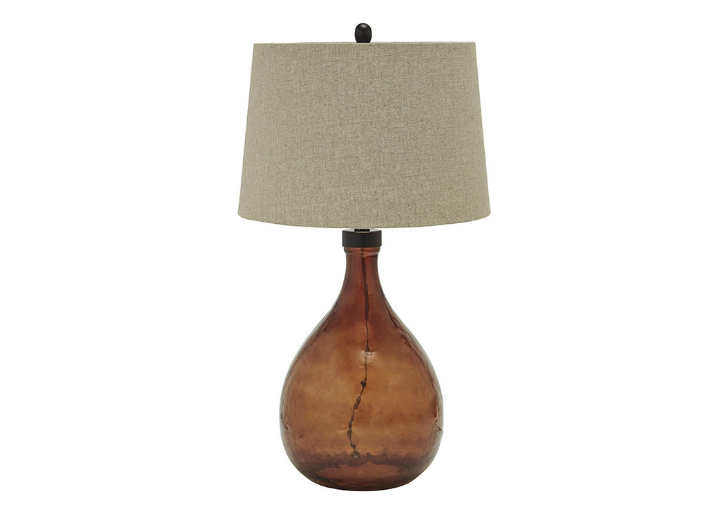 Arayna Brown Glass Table Lamp,Signature Design By Ashley