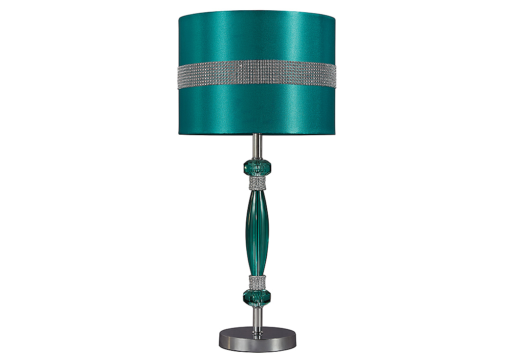 Teal & Silver Finish Acrylic Table Lamp,48 Hour Quick Ship