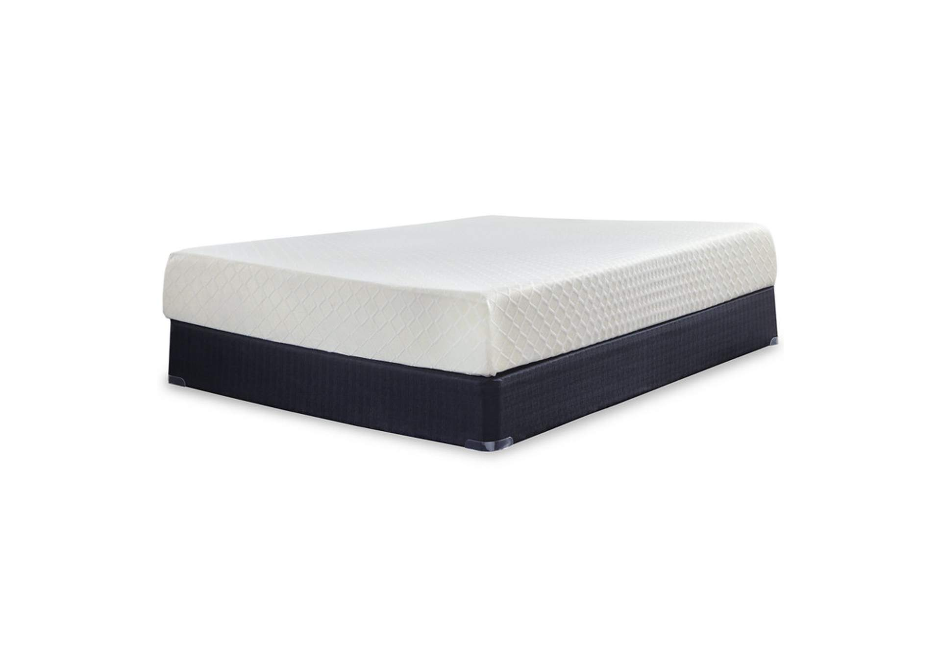 10 Inch Chime Memory Foam White California King Mattress w/Foundation,Sierra Sleep by Ashley
