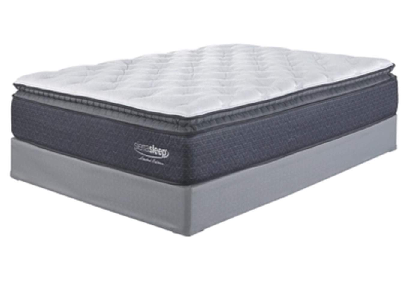 Limited Edition Pillowtop White Twin Mattress w/Foundation,Sierra Sleep by Ashley