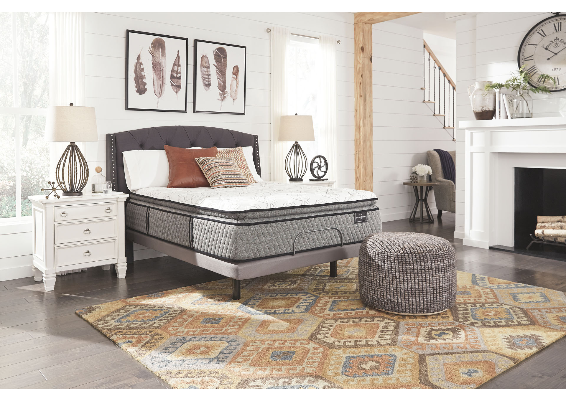 Mt. Rogers Limited Pillowtop White Queen Mattress w/Adjustable Base,Sierra Sleep by Ashley