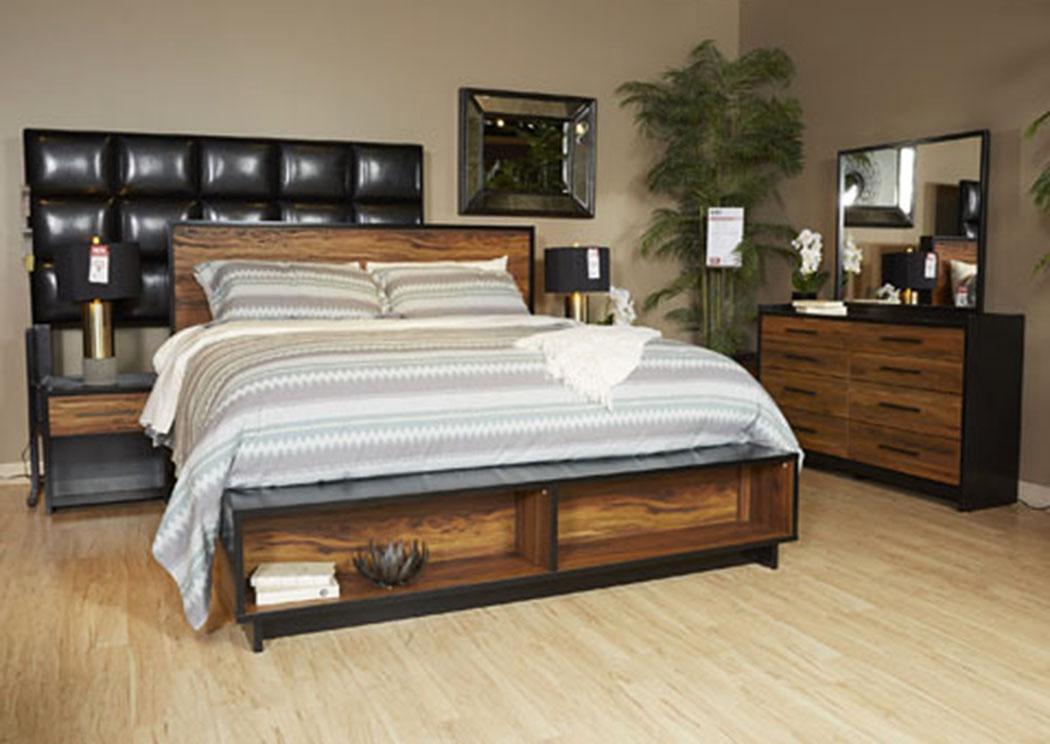 W a akins sons stavani black brown queen storage for Mirror queen bed