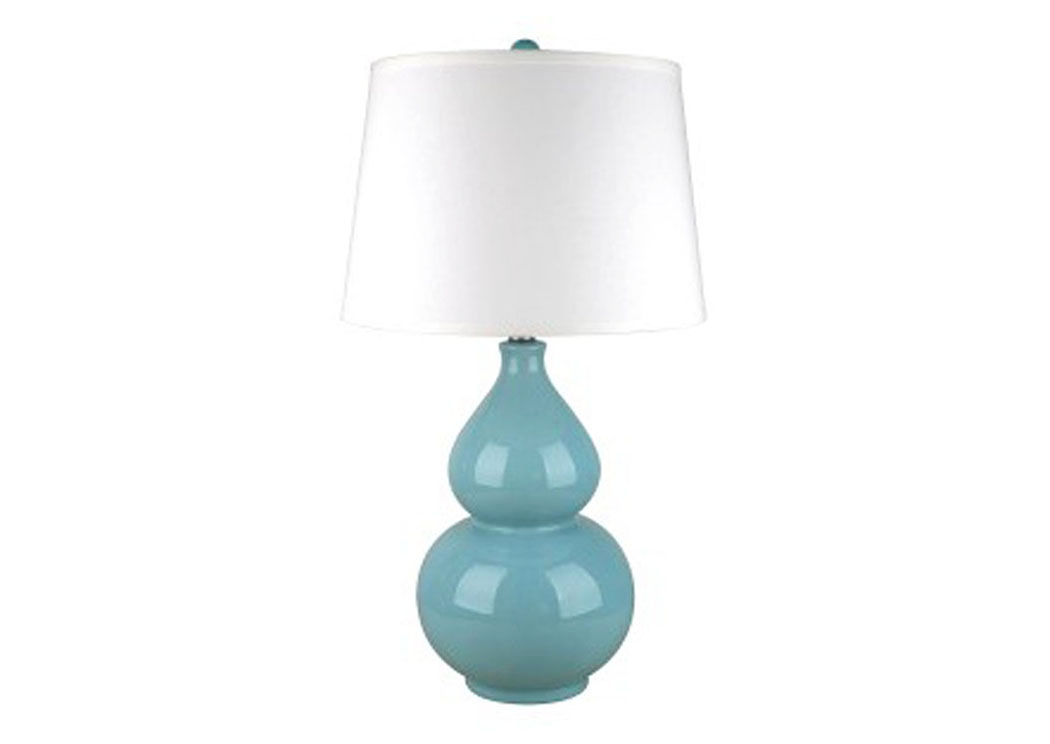 Saffi Light Blue Ceramic Table Lamp,Signature Design by Ashley