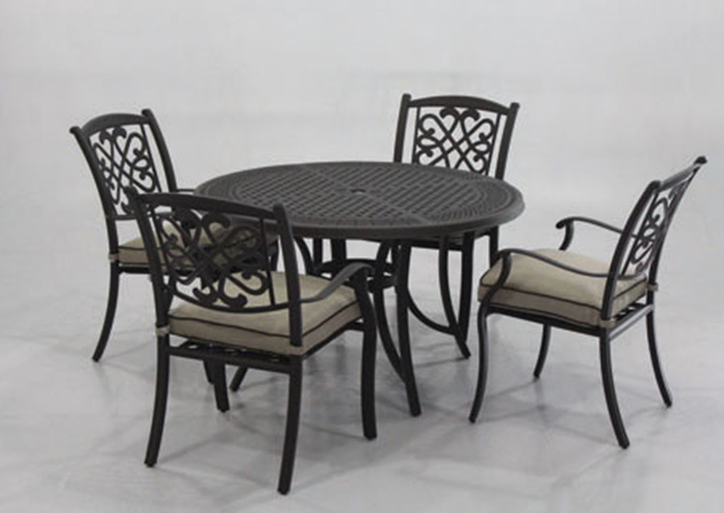 Burnella Beige/Brown Round Dining Table w/4 Sling Chairs,Outdoor By Ashley