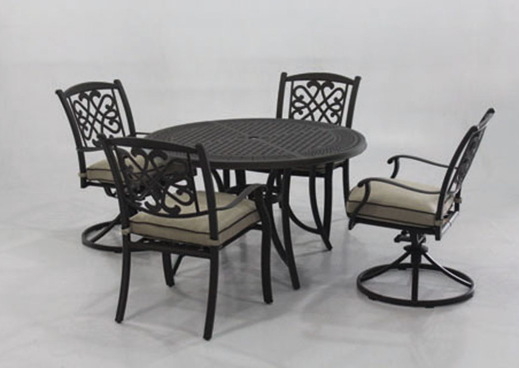 Burnella Beige/Brown Round Dining Table w/2 Sling Chairs and 2 Swivel Chairs,Outdoor By Ashley