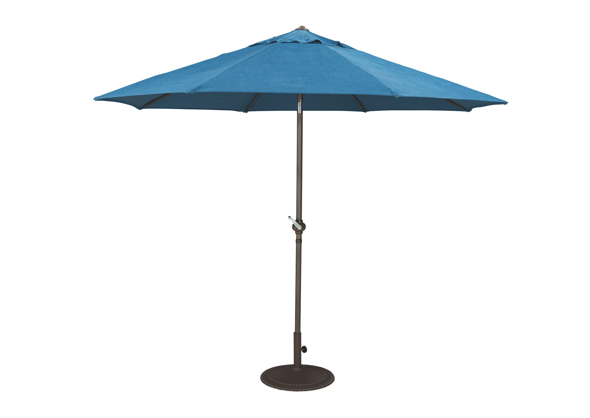 Blue/Beige Medium Auto Tilt Umbrella,Outdoor By Ashley