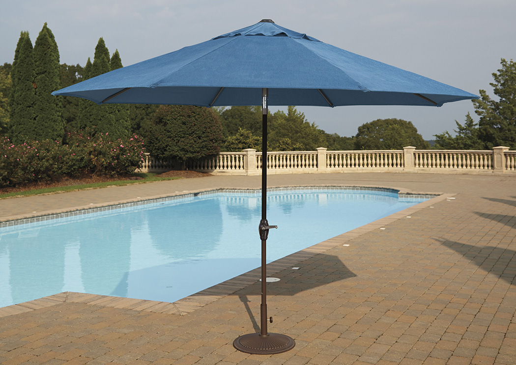 Umbrella Accessories Blue/Beige Medium Auto Tilt Umbrella,Outdoor By Ashley