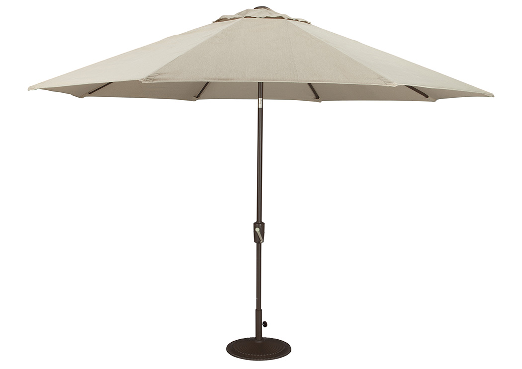 Beige/Dark Brown Large Auto Tilt Umbrella,Outdoor By Ashley