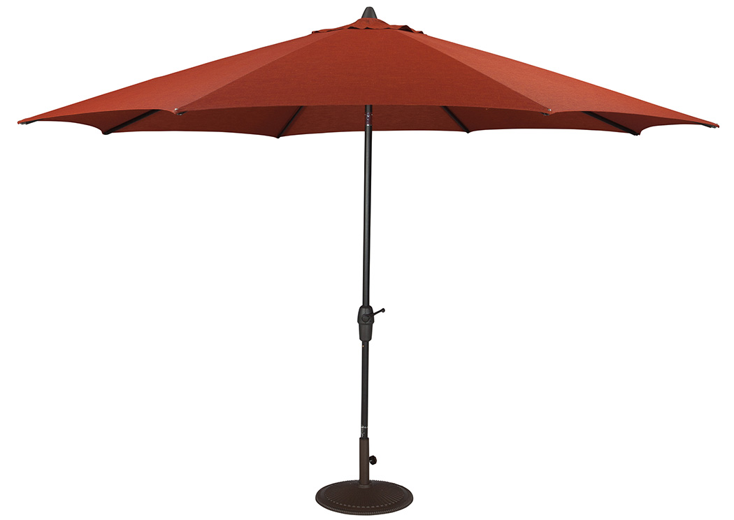 Burnt Orange Large Auto Tilt Umbrella,Outdoor By Ashley