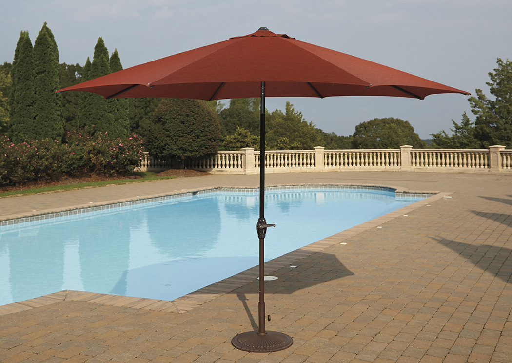 Umbrella Accessories Burnt Orange Large Auto Tilt Umbrella,Outdoor By Ashley