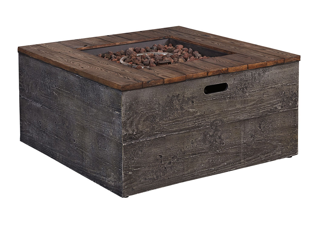Hatchlands Multi Low Square Fire Pit Table,Outdoor By Ashley