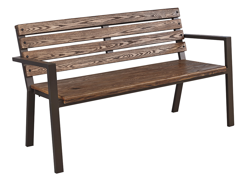Hatchlands Beige/Brown Park Bench,Outdoor By Ashley